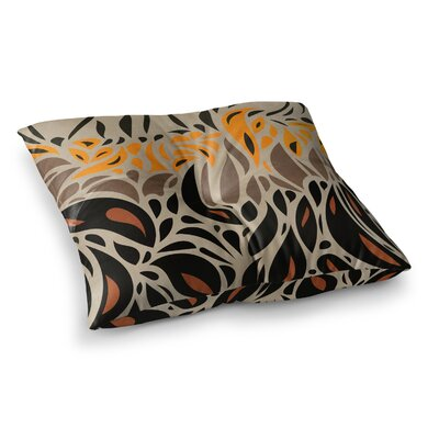 Viviana Gonzalez Africa Abstract Pattern Square Floor Pillow Size: 23 x 23, Color: Beige/Orange/Black