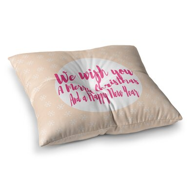 Suzanne Carter Merry Chistmas and Happy New Year Peach Square Floor Pillow Size: 26 x 26