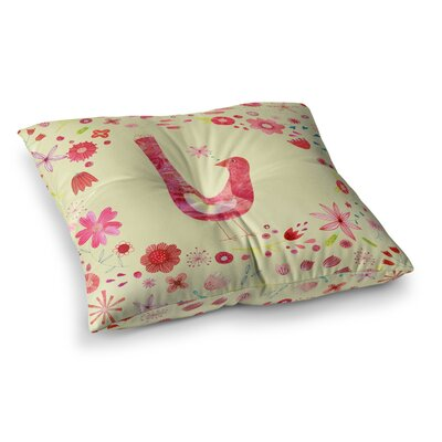 Nic Squirrell Bird in A Circle of Flowers Floral Square Floor Pillow Size: 26 x 26