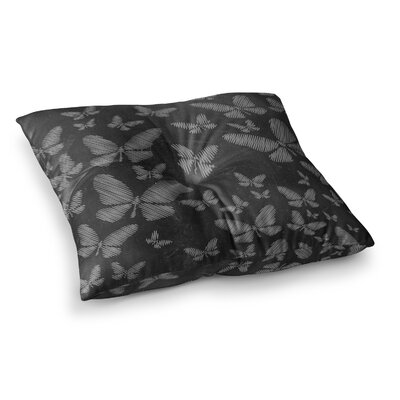 Snap Studio Butterflies II Chalk Square Floor Pillow Size: 26 x 26, Color: Black/White