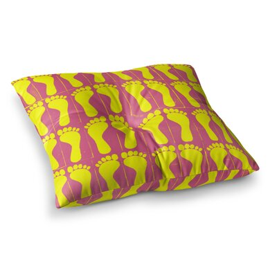 Sreetama Ray Footprints Square Floor Pillow Size: 23 x 23, Color: Pink/Yellow