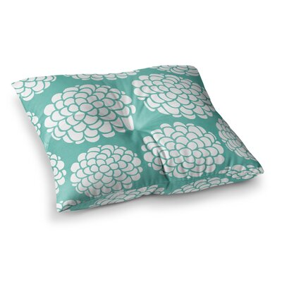 Pom Graphic Design Hydrangeas Blossoms Circles Square Floor Pillow Size: 26 x 26, Color: Teal