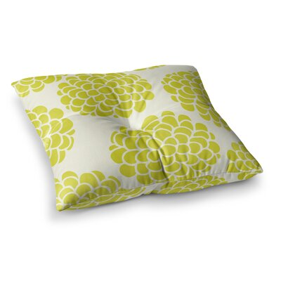 Pom Graphic Design Hydrangeas Blossoms Circles Square Floor Pillow Size: 23 x 23, Color: Yellow