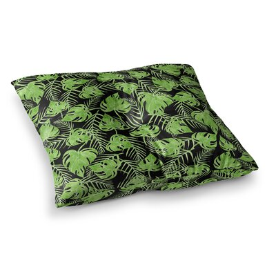 Strawberringo Leaves Square Floor Pillow Size: 23 x 23