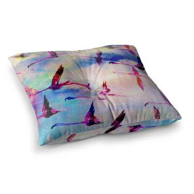 Nikki Strange Flamingo in Flight Square Floor Pillow Size: 23 x 23
