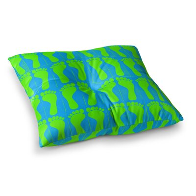 Sreetama Ray Footprints Square Floor Pillow Size: 26 x 26, Color: Teal/Green