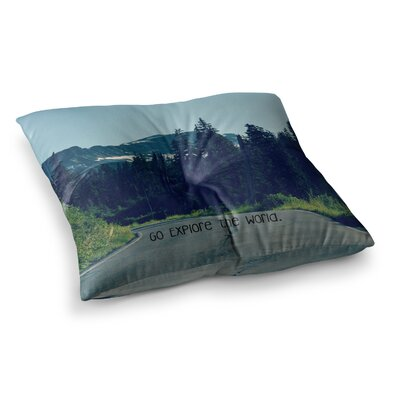 Robin Dickinson Go Explore the World Square Floor Pillow Size: 26 x 26