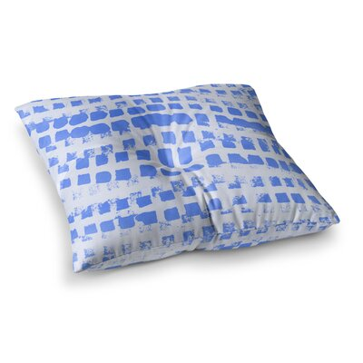 Vasare Nar Azure Illustration Square Floor Pillow Size: 26 x 26