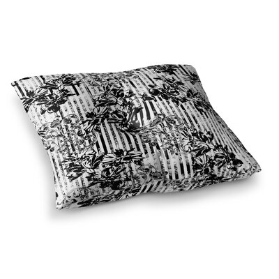 Victoria Krupp Stripes and Flowers Digital Square Floor Pillow Size: 23 x 23