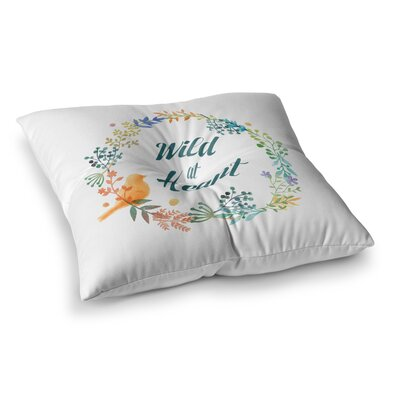 NL Designs Wild At Heart Teal Digital Square Floor Pillow Size: 23 x 23
