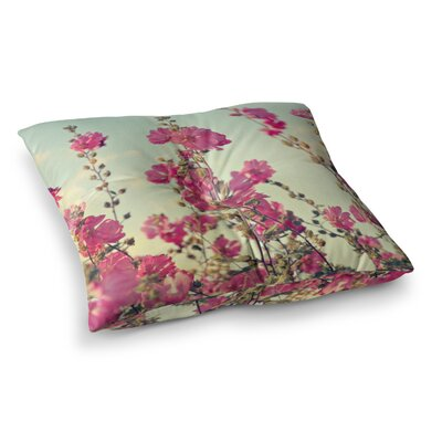 Sylvia Cook Lavatera Flowers Sky Square Floor Pillow Size: 23 x 23
