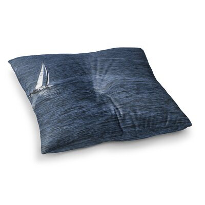 Nick Nareshni Boat on The Ocean Square Floor Pillow Size: 23 x 23