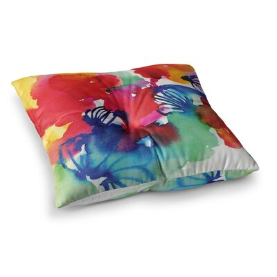 Sonal Nathwani Celebration Floral Painting Square Floor Pillow Size: 26 x 26