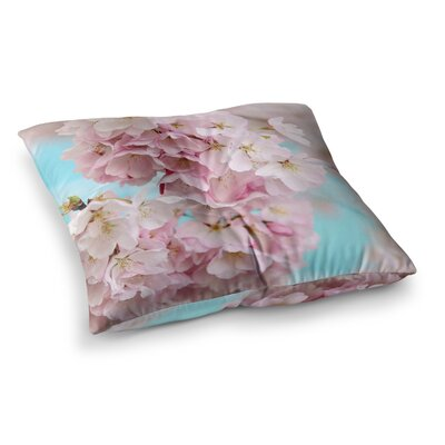 Sylvia Cook a Pastel Spring Floral Square Floor Pillow Size: 23 x 23