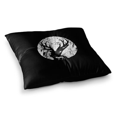 BarmalisiRTB Deer At Night Digital Square Floor Pillow Size: 26 x 26