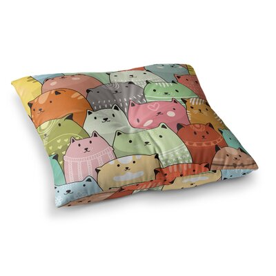 Snap Studio Kitty Attack Cat Illustration Square Floor Pillow Size: 23 x 23