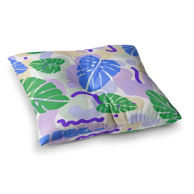 Vasare Nar Monstera Tropical Plant Digital Square Floor Pillow Size: 26 x 26