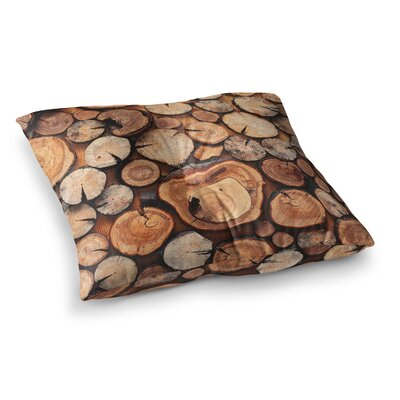 Susan Sanders Rustic Wood Logs Square Floor Pillow Size: 23 x 23