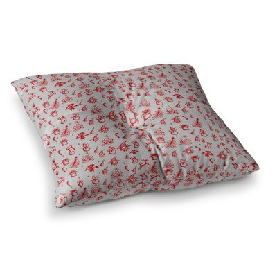 Snap Studio Miniature Christmas Square Floor Pillow Size: 23 x 23, Color: White/Red