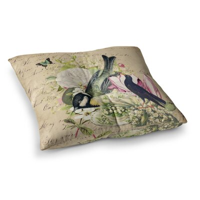 Suzanne Carter Vintage Tea Bird Illustration Square Floor Pillow Size: 23