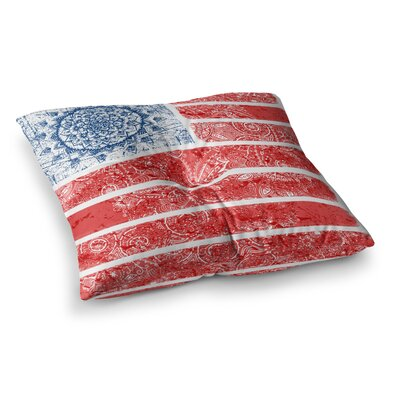 Victoria Krupp Americana Mandala Flag Holiday Square Floor Pillow Size: 26 x 26