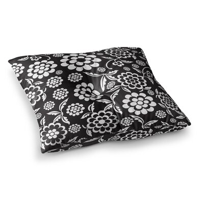 Nicole Ketchum Cherry Floral Square Floor Pillow Size: 26 x 26, Color: Black/White
