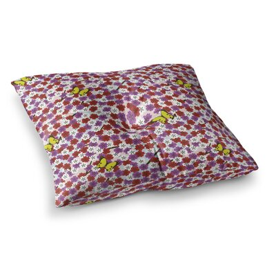 Setsu Egawa Cherry Blossom and Butterfly Square Floor Pillow Size: 23 x 23