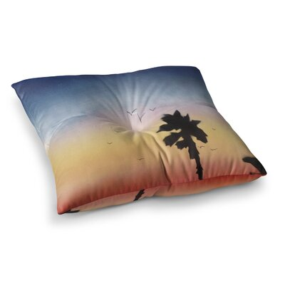 Infinite Spray Art Carlsbad Sunset Coastal Painting Square Floor Pillow Size: 26 x 26