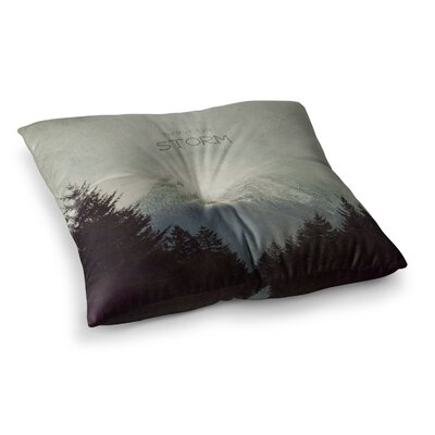 Robin Dickinson Brave the Storm Snow Mountain Square Floor Pillow Size: 23 x 23