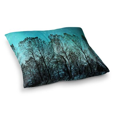 Sylvia Cook Dark forest Trees Square Floor Pillow Size: 26 x 26
