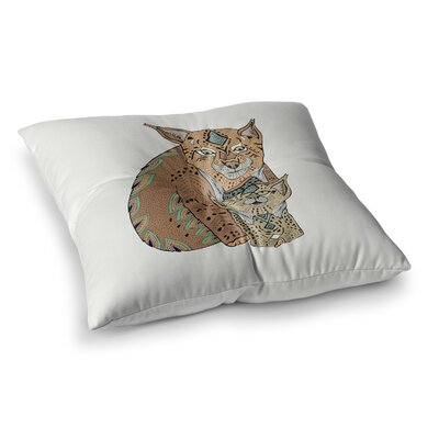Pom Graphic Design Mama and Baby Lynx Vector Animals Square Floor Pillow Size: 26 x 26