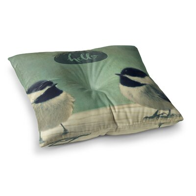 Robin Dickinson Hello Birds Typography Square Floor Pillow Size: 23 x 23
