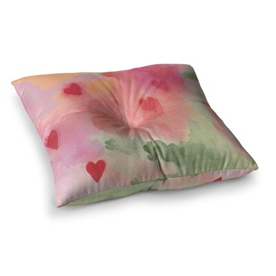 Rosie Brown All My Loving Watercolor Square Floor Pillow Size: 26 x 26