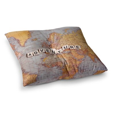 Sylvia Cook Adventure Map World Square Floor Pillow Size: 23 x 23