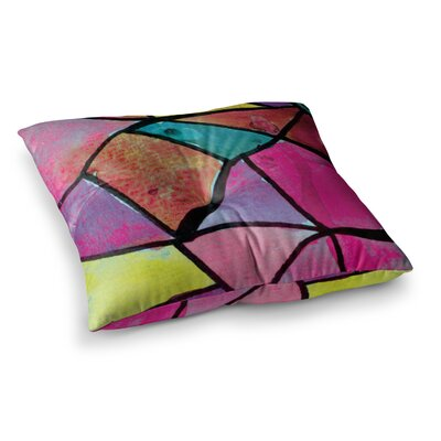 Theresa Giolzetti Stain Glass 1 Square Floor Pillow Size: 26 x 26, Color: Pink