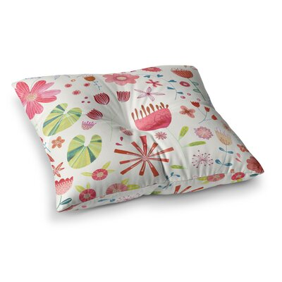 Nic Squirrell Pressed Wildflowers Square Floor Pillow Size: 26 x 26, Color: White