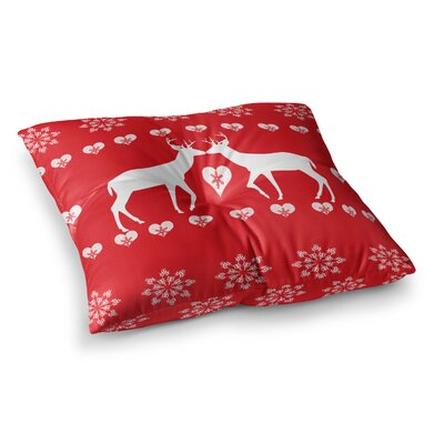 Suzanne Carter Christmas Deer 2 Holiday Pattern Square Floor Pillow Size: 23 x 23