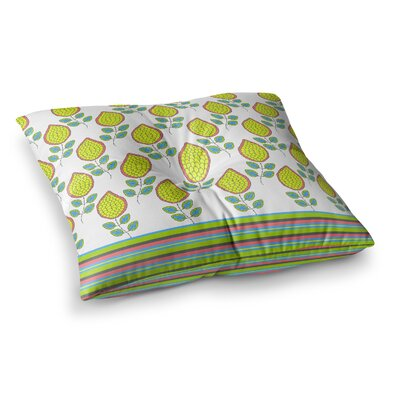 Nandita Singh Leaves Bright Floral Square Floor Pillow Size: 26 x 26