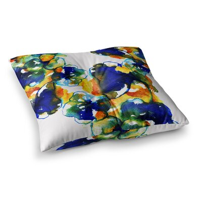 Sonal Nathwani Floral Abstract Watercolor Square Floor Pillow Size: 23 x 23