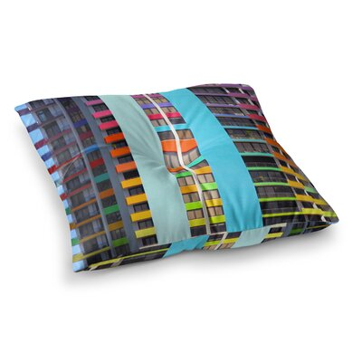 Philip Brown the Rainbow Building Modern Square Floor Pillow Size: 26 x 26