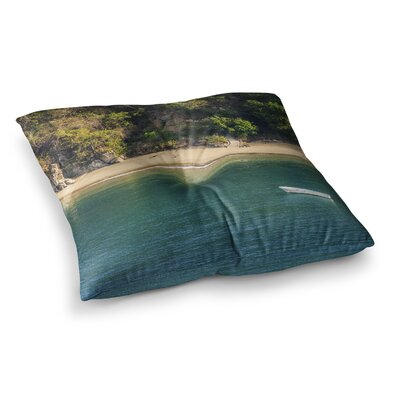 Nick Nareshni Lonely Boat on Coast Photography Square Floor Pillow Size: 26 x 26