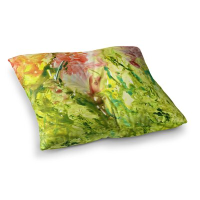 Rosie Brown Thumb Paint Lime Square Floor Pillow Size: 23 x 23