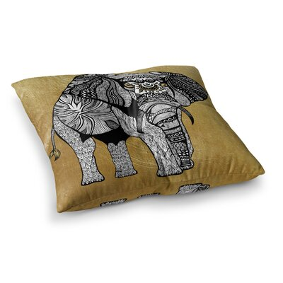 Pom Graphic Design Elephant Square Floor Pillow Size: 23 x 23, Color: Gold