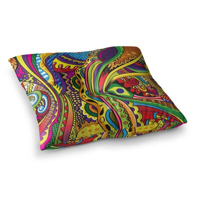 Roberlan Doodle Rainbow Abstract Square Floor Pillow Size: 23 x 23