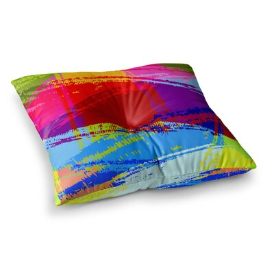 Roberlan Rainbow Chaos Mixed Media Square Floor Pillow Size: 23 x 23