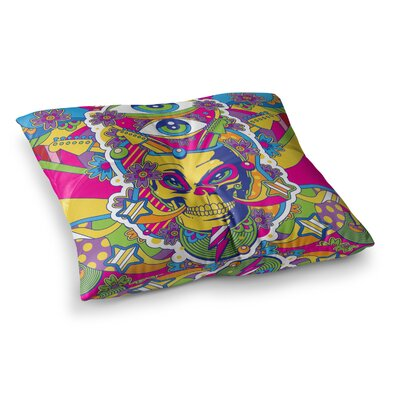 Roberlan Skull Rainbow Illustration Square Floor Pillow Size: 23