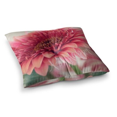 Robin Dickinson Be Happy Floral Square Floor Pillow Size: 26 x 26