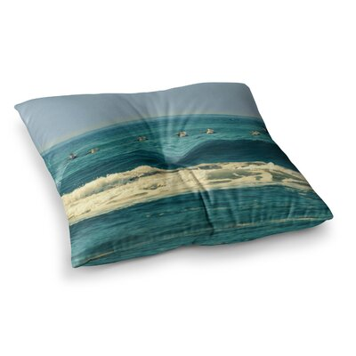 Robin Dickinson Break Free and Soar Ocean Wave Square Floor Pillow Size: 23 x 23