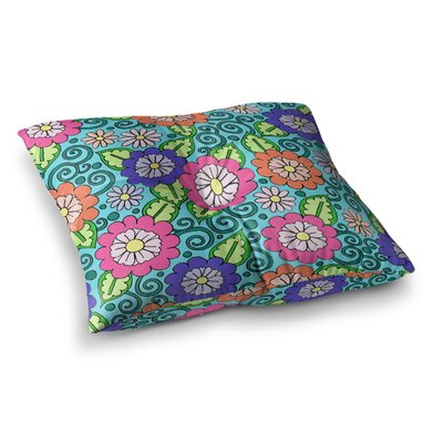 Sarah Oelerich Summer Floral Flowers Square Floor Pillow Size: 23 x 23