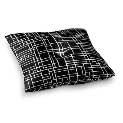 Project M Map Outline Geometric Lines Square Floor Pillow Size: 23 x 23, Color: Black